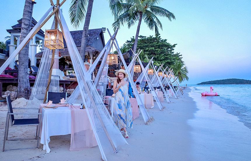 ดินเนอร์กระโจมริมหาด ชมวิวพระอาทิตย์ตกสุดโรแมนติกบนเกาะสมุย ที่ Dara Serene Restaurant หาดเฉวง ร้านอาหารเกาะสมุย แนะนำสำหรับคู่รักและครอบครัว