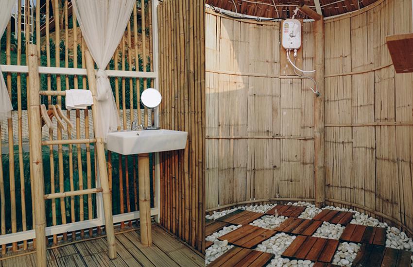 ห้องน้ำตกแต่งด้วยไม้ไผ่